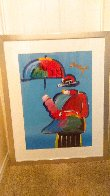 Umbrella Man Unique 43x33  Huge Works on Paper (not prints) by Peter Max - 7