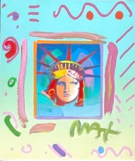 Liberty Head II Unique 14x11 Works on Paper (not prints) - Peter Max