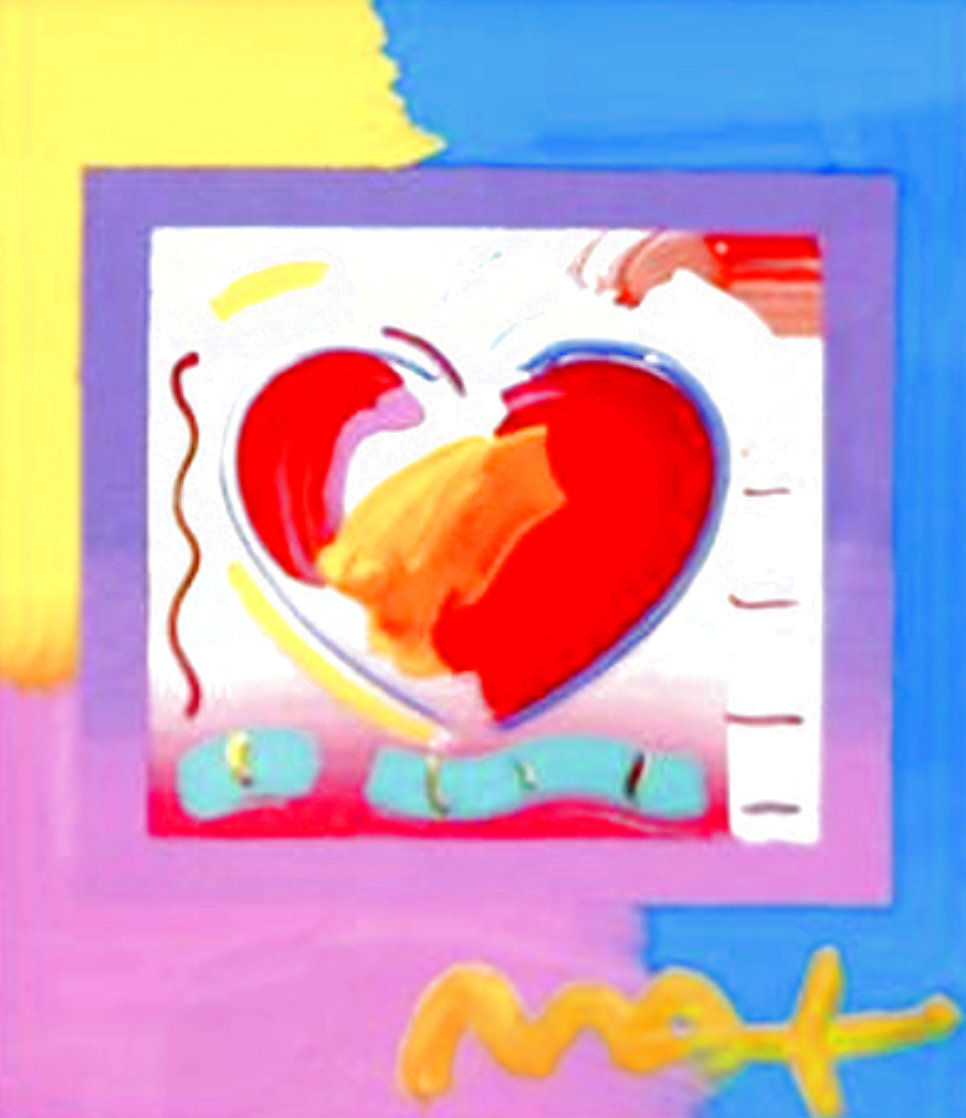 Heart on Blends Unique 2006 23x21 Works on Paper (not prints) by Peter Max