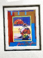 Umbrella Man on Blends Unique 26x24 Original Painting by Peter Max - 2