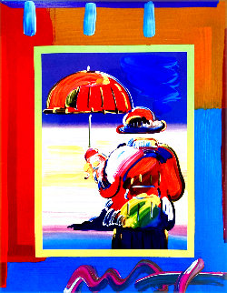 Umbrella Man on Blends Unique 26x24 Original Painting - Peter Max