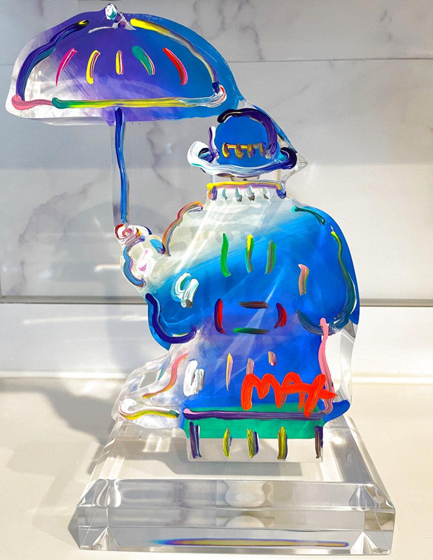 Umbrella Man Ver. III Acrylic Sculpture Unique 2017 12 in Sculpture by Peter Max