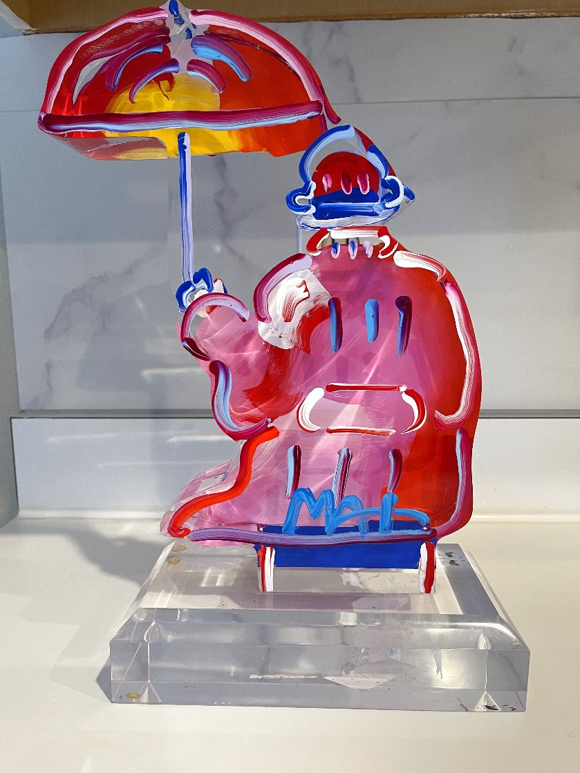 Umbrella Man Ver. III Acrylic Sculpture Unique 2017 12 in Sculpture by Peter Max