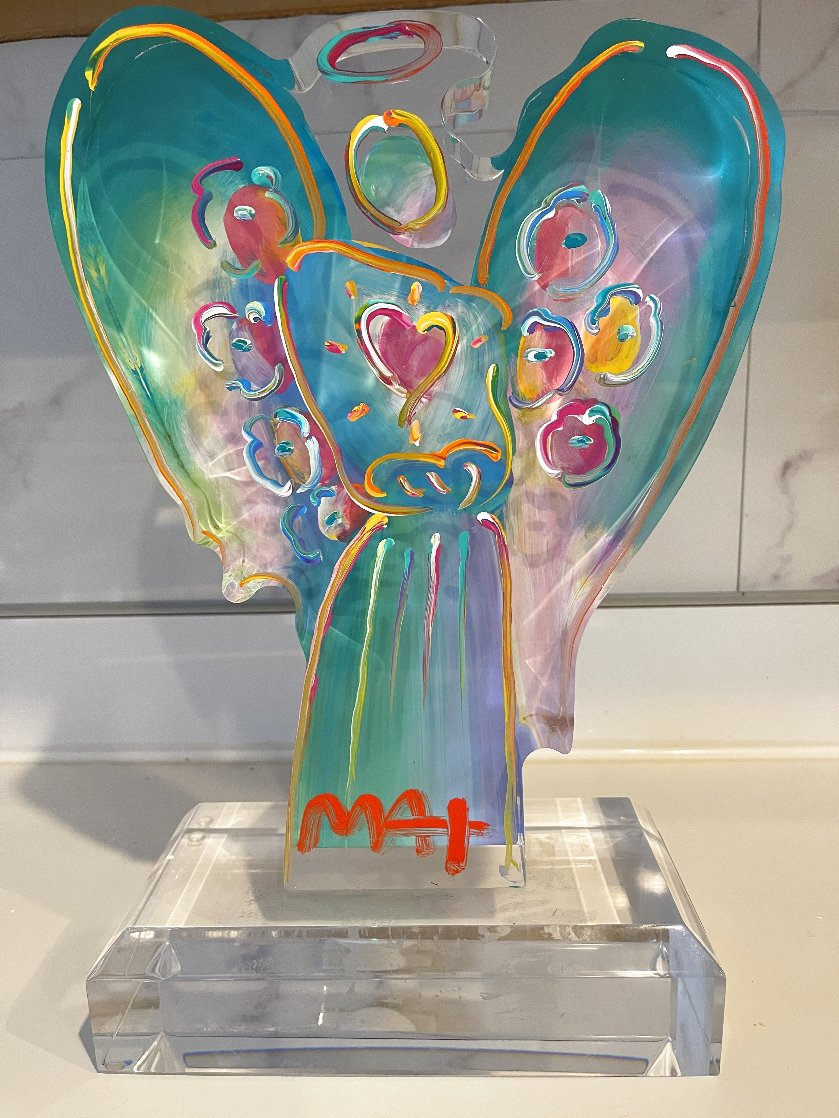 Acrylic Angel With Heart Sculpture Unique 2017 12 in Sculpture by Peter Max