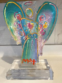 Acrylic Angel With Heart Sculprure Unique 2017 12 in Sculpture - Peter Max