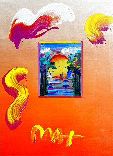 Sailing Into the Sunset Unique 2019 24x20 Works on Paper (not prints) - Peter Max