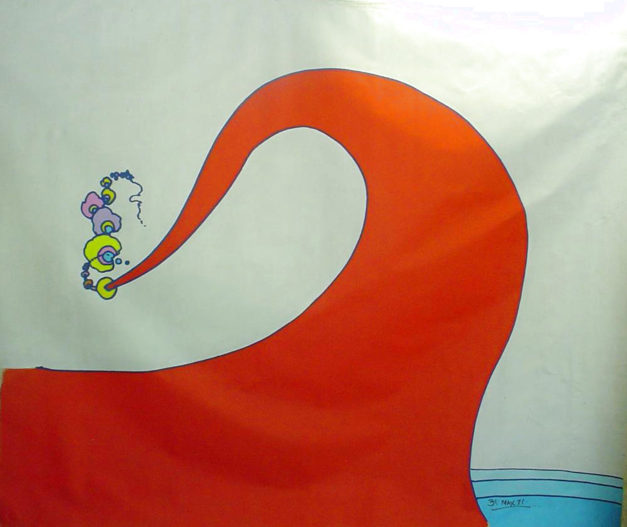 Abstract III Vintage Acrylic 96x108 in 1970 Super Huge Original Painting by Peter Max