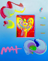 Angel With Heart Unique 2019 22x19 Works on Paper (not prints) by Peter Max - 0