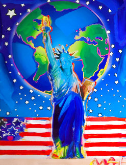 Peace on Earth 9/11 Unique 2001 39x313 Works on Paper (not prints) - Peter Max