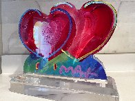 Two Hearts Acrylic Sculpture 2017 12 in Sculpture by Peter Max - 1