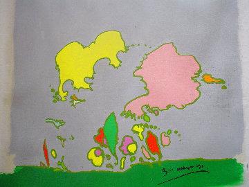Hidden Face 1971 24x24 Original Painting - Peter Max