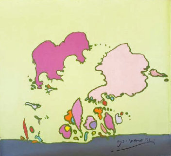 Hidden Face 1971 24x24 Original Painting - Peter Max