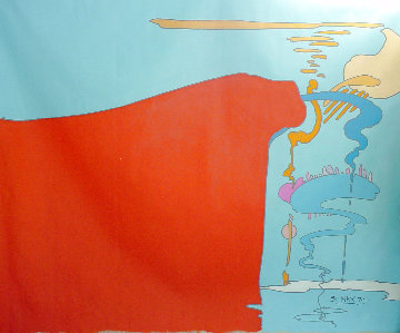 Abstract I Vintage Acrylic 96x108 in 1970 Huge Original Painting - Peter Max