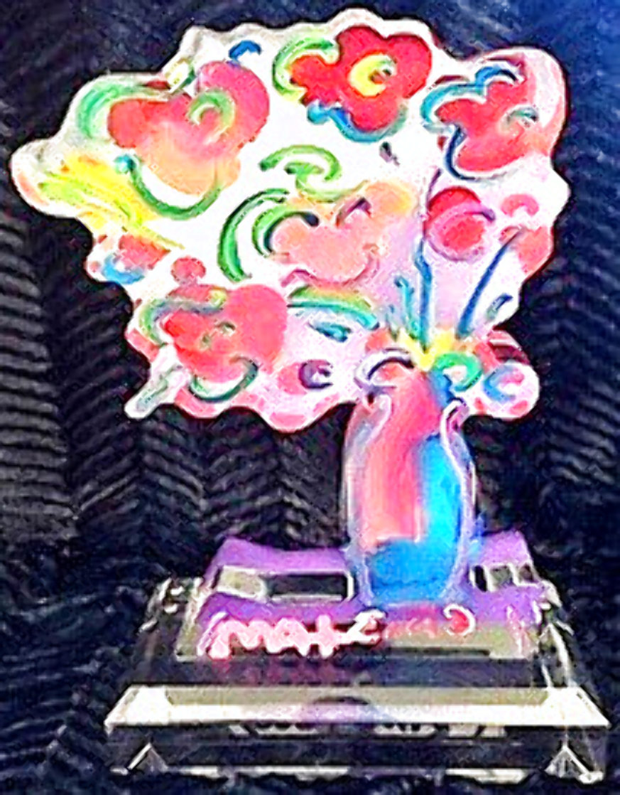 Vase of Flowers Unique Acrylic Sculpture 2016  12 in Sculpture by Peter Max