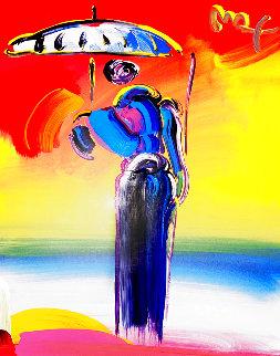 Umbrella Man With Cane 2001 40x34 Super Huge Original Painting - Peter Max