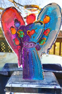 Angel With Heart Acrylic Sculpture Unique 2016 11 in Sculpture - Peter Max