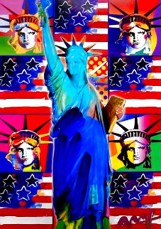 God Bless America III With Five Liberties Unique 38x32 Works on Paper (not prints) - Peter Max