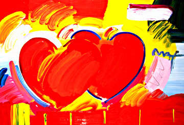 Two Hearts As One   2007  Heavily Embellished Unique Poster Works on Paper (not prints) - Peter Max