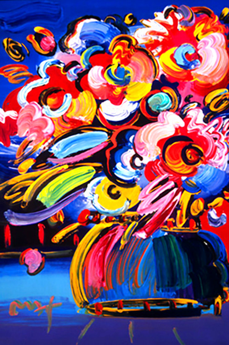 Flowers #371 (Blue) 2008 Unique Heavily Embellished Poster 36x24 (Max#283970). Works on Paper (not prints) by Peter Max