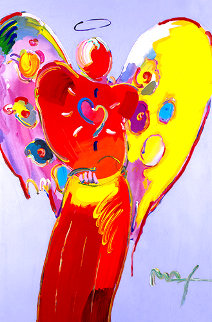 Red Angel With Heart III  2007  36x24 Unique Poster Works on Paper (not prints) - Peter Max