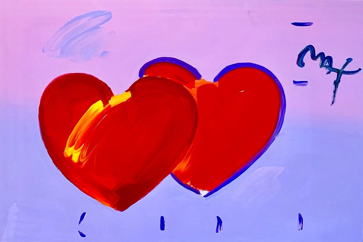 2 Hearts Unique 2008 31x43 Huge Works on Paper (not prints) by Peter Max