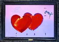 2 Hearts Unique 2008 31x43 Huge Works on Paper (not prints) by Peter Max - 1