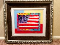 American Flag With Heart Unique 2014 39x35 Works on Paper (not prints) by Peter Max - 1