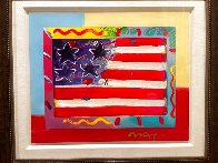 American Flag With Heart Unique 2014 39x35 Works on Paper (not prints) by Peter Max - 2
