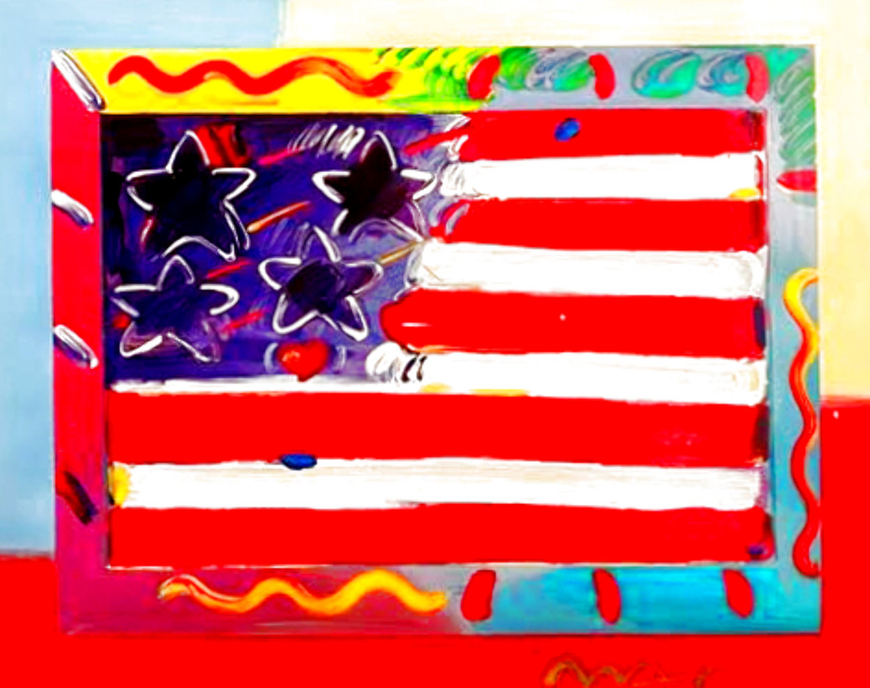 American Flag With Heart Unique 2014 39x35 Works on Paper (not prints) by Peter Max