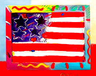American Flag With Heart Unique 2014 39x35 Works on Paper (not prints) by Peter Max - 0