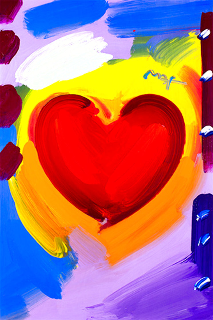 Valentine 2007 Heavily Embellished Unique Poster  36x24 Works on Paper (not prints) by Peter Max