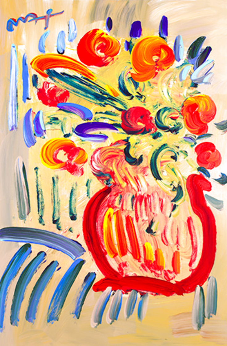 Abstract Flowers (Green)#18 Heavily Embellished Unique Poster Works on Paper (not prints) by Peter Max