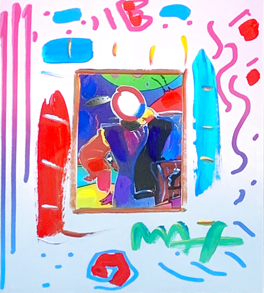 Dega Man Collage, Ver. 1 Unique 1998 14x12 Works on Paper (not prints) by Peter Max