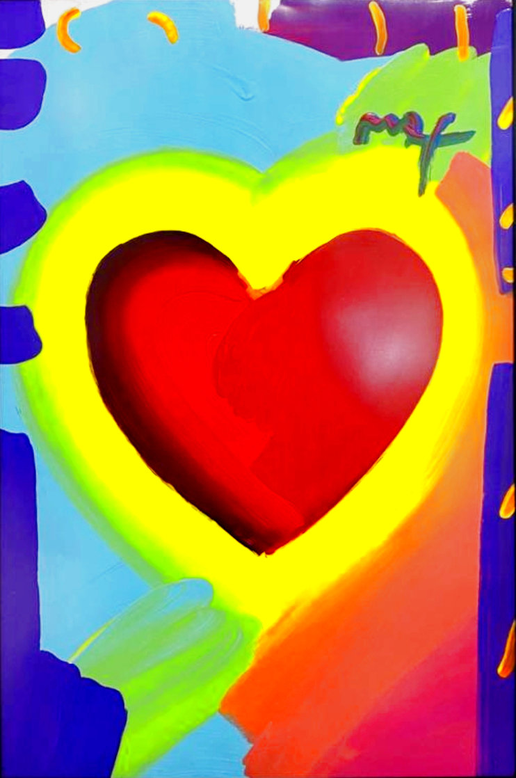 Heart 46x32 Unique  Super Huge Works on Paper (not prints) by Peter Max