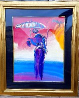 Umbrella Man With Cane Unique 2001 40x34 Huge Works on Paper (not prints) by Peter Max - 1