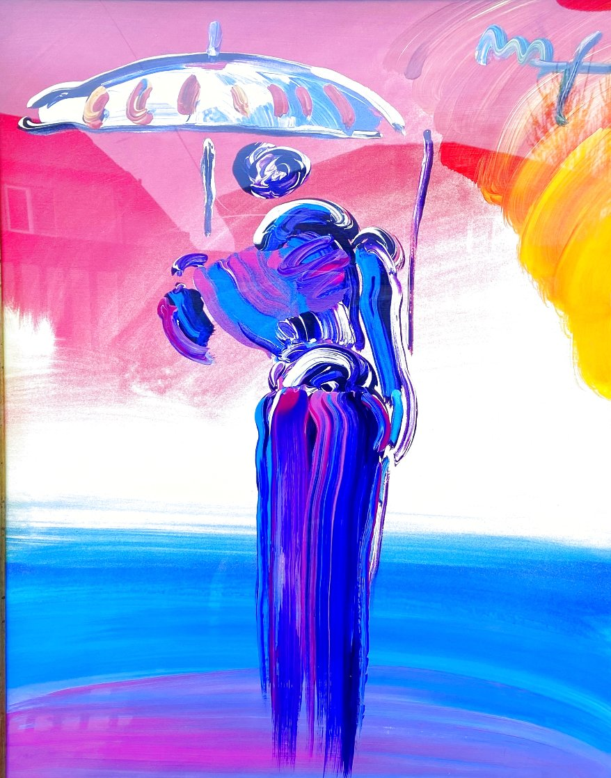 Umbrella Man With Cane Unique 2001 40x34 Huge Works on Paper (not prints) by Peter Max