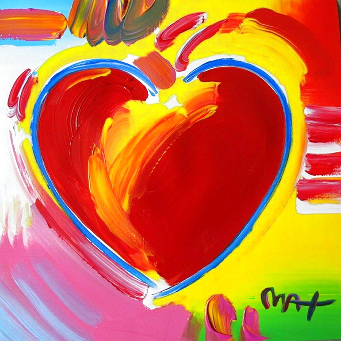 Heart 1999 Unique 14x14 Works on Paper (not prints) by Peter Max