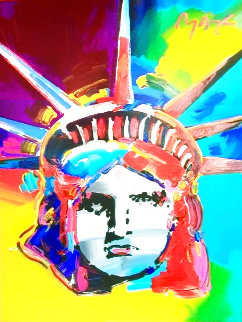 Liberty 2000 50x42 Super Huge (Signed Twice) Original Painting - Peter Max