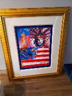 God Bless America II 2001 Unique 37x31 Works on Paper (not prints) by Peter Max - 1