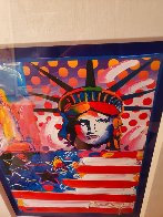 God Bless America II 2001 Unique 37x31 Works on Paper (not prints) by Peter Max - 2