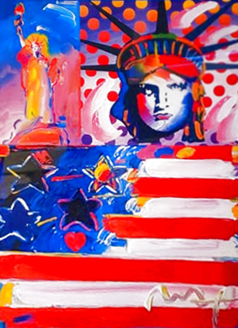 God Bless America II 2001 Unique 37x31 Works on Paper (not prints) by Peter Max