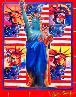 God Bless America With Five Liberties Unique 2001 37x31 Works on Paper (not prints) - Peter Max