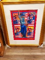 God Bless America With Five Liberties Unique 2001 37x31 Works on Paper (not prints) by Peter Max - 2