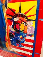 God Bless America With Five Liberties Unique 2001 37x31 Works on Paper (not prints) by Peter Max - 3
