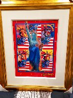 God Bless America With Five Liberties Unique 2001 37x31 Works on Paper (not prints) by Peter Max - 1