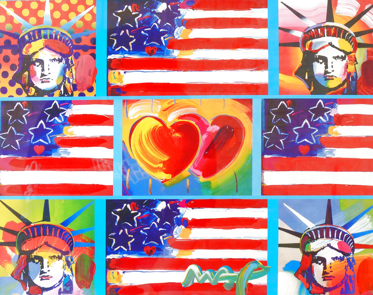 4 Liberties Unique 2007 28x32 Works on Paper (not prints) by Peter Max