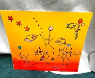 Umbrella Man With Sunrise  Works on Paper (not prints) by Peter Max - 1