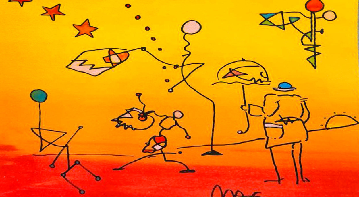 Umbrella Man With Sunrise  Works on Paper (not prints) by Peter Max