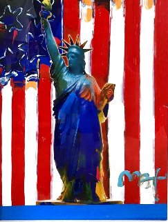 United We Stand 2005 38x32 Original Painting - Peter Max