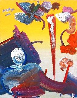 Sage (Abstract) 1989 30x24 Original Painting - Peter Max